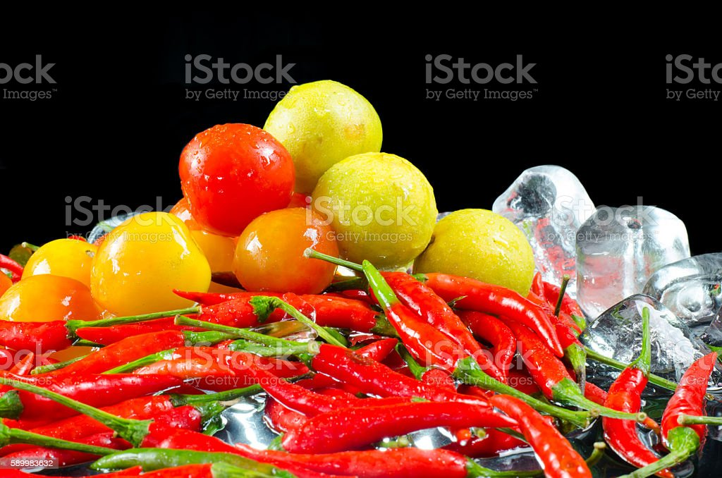 Series herb cooking on the black background. stock photo