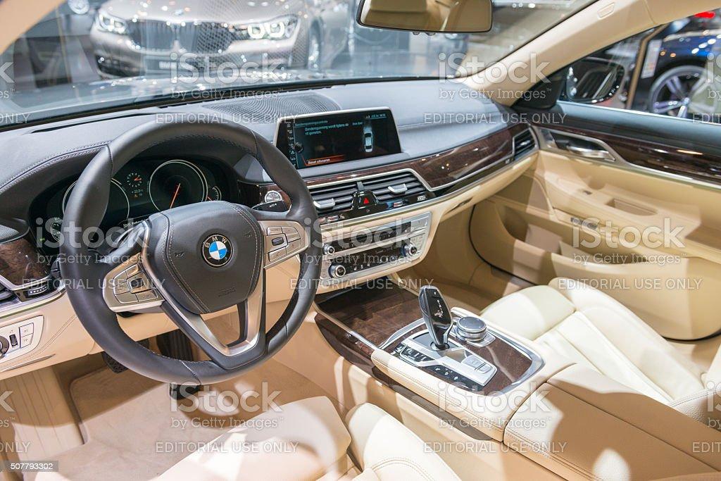 BMW 7 series luxury limousine car interior stock photo