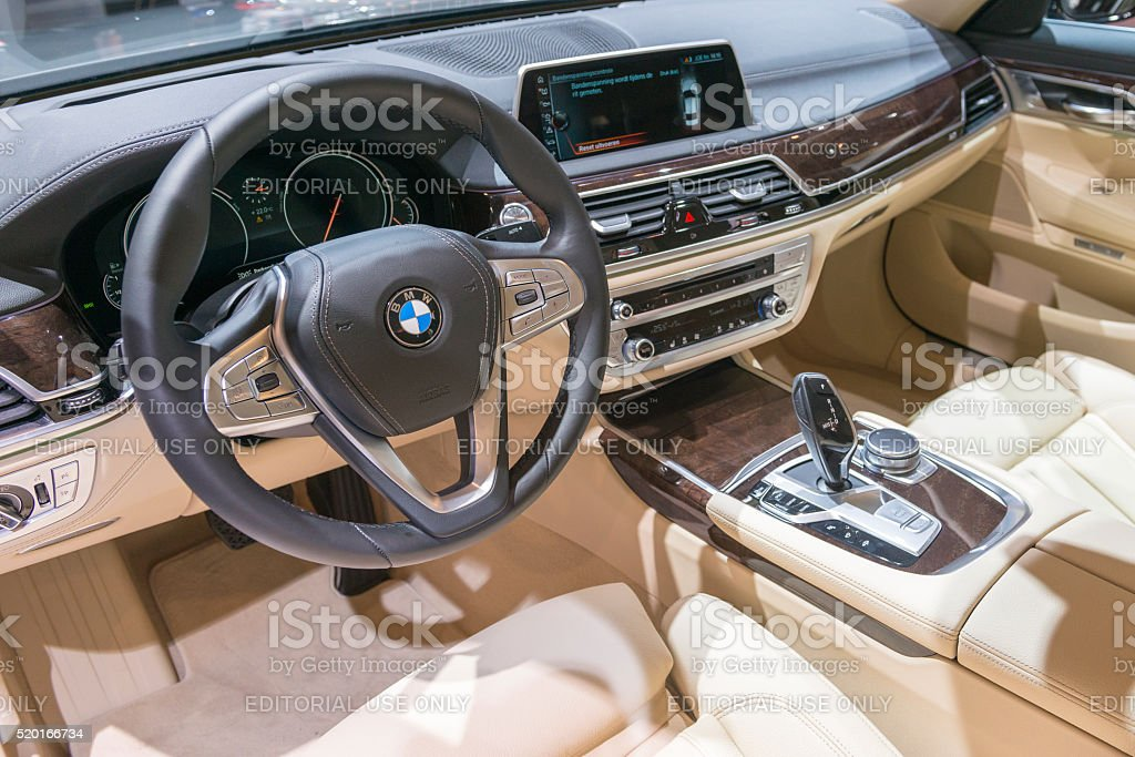BMW 7 series luxury limousine car interior stock photo