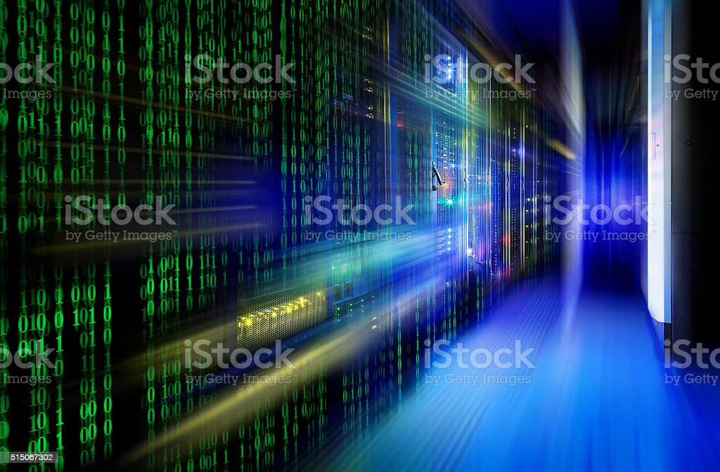 series mainframe in a futuristic representation of a matrix code stock photo