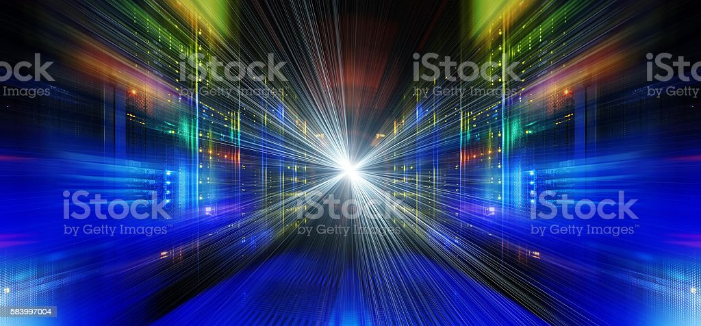 series mainframe in a futuristic representation of light streams stock photo