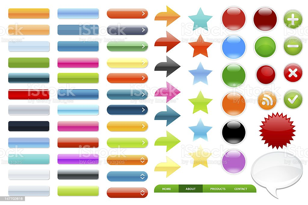 Series of 3D web buttons in many colors royalty-free stock photo
