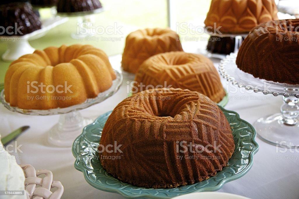 Series of bundt cakes stock photo
