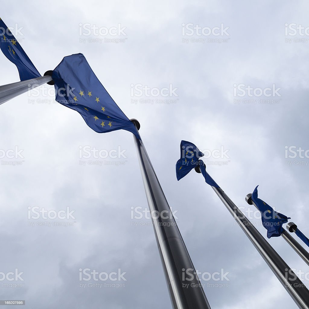 Series of European Union Flags in Brussels, Belgium royalty-free stock photo