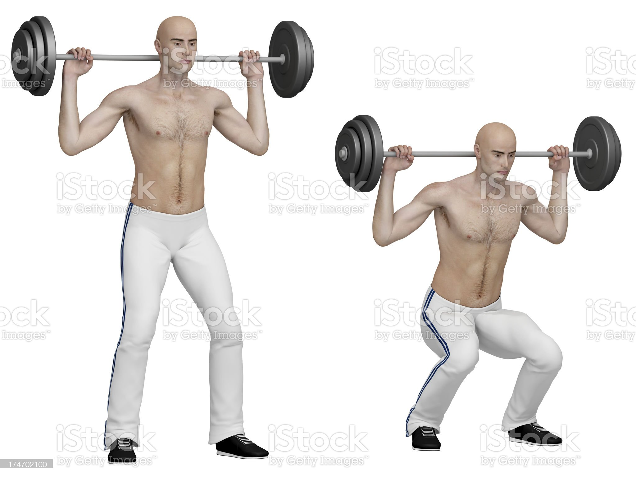 Series of exercises: Barbell squats royalty-free stock photo