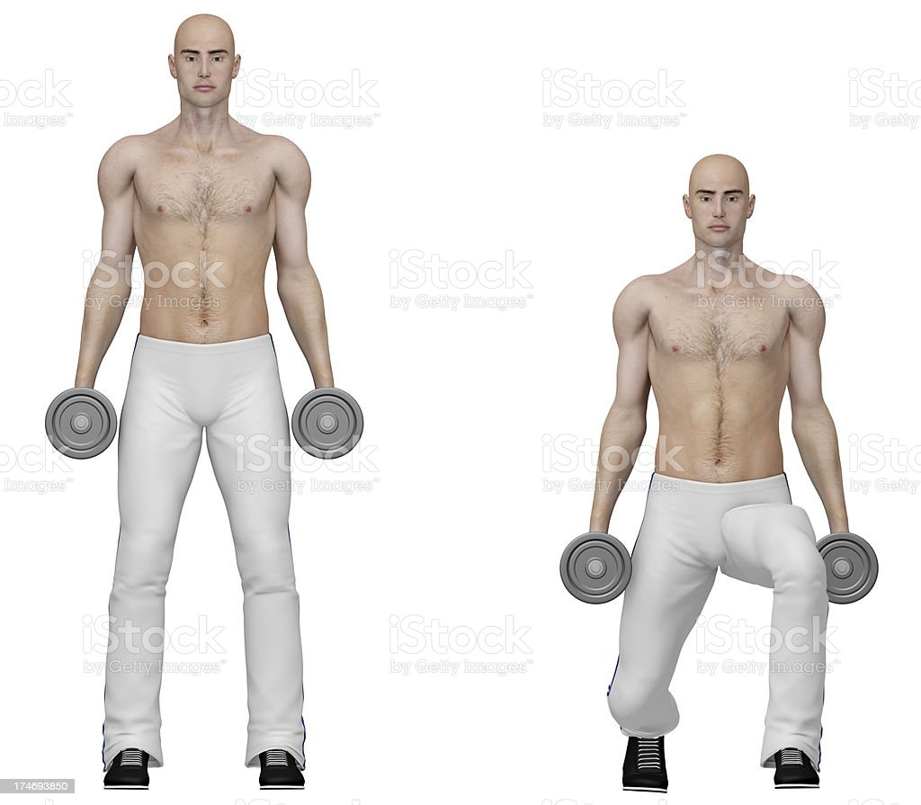 Series of exercises: Dumbbell lunges royalty-free stock photo
