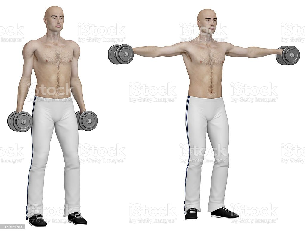 Series of exercises: Lateral raises stock photo