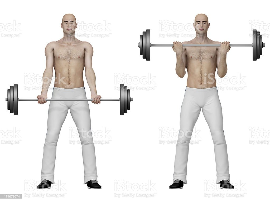 Series of exercises: Standing barbell curl royalty-free stock photo