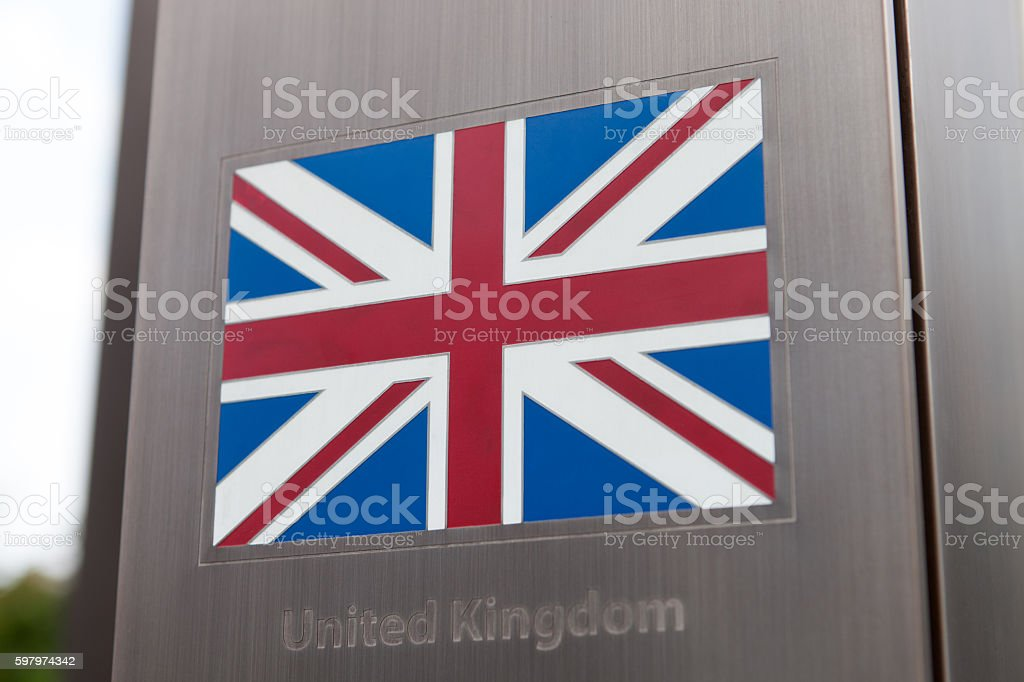Series of flags on pole - United Kingdom stock photo