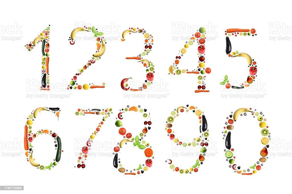 A series of fruit arranged into numbers stock photo