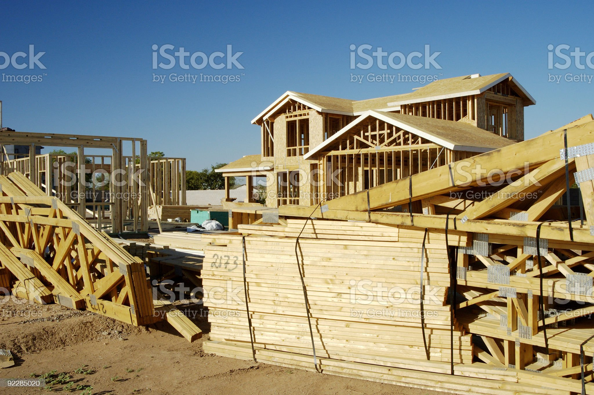 A series of new homes being constructed from timber frames royalty-free stock photo