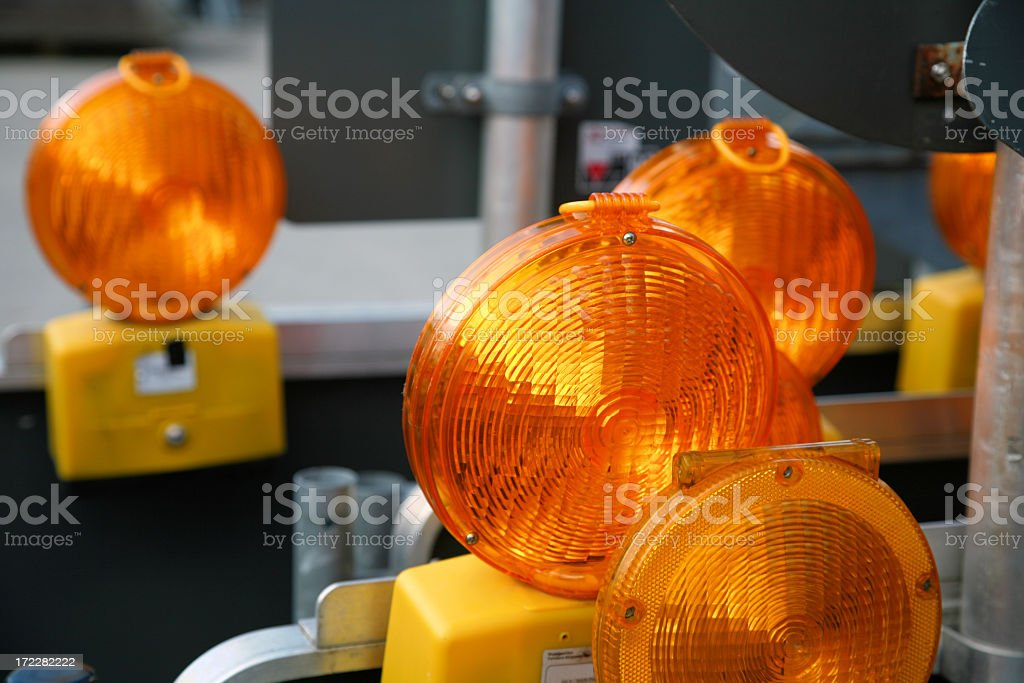 Series of road work flashing lights royalty-free stock photo