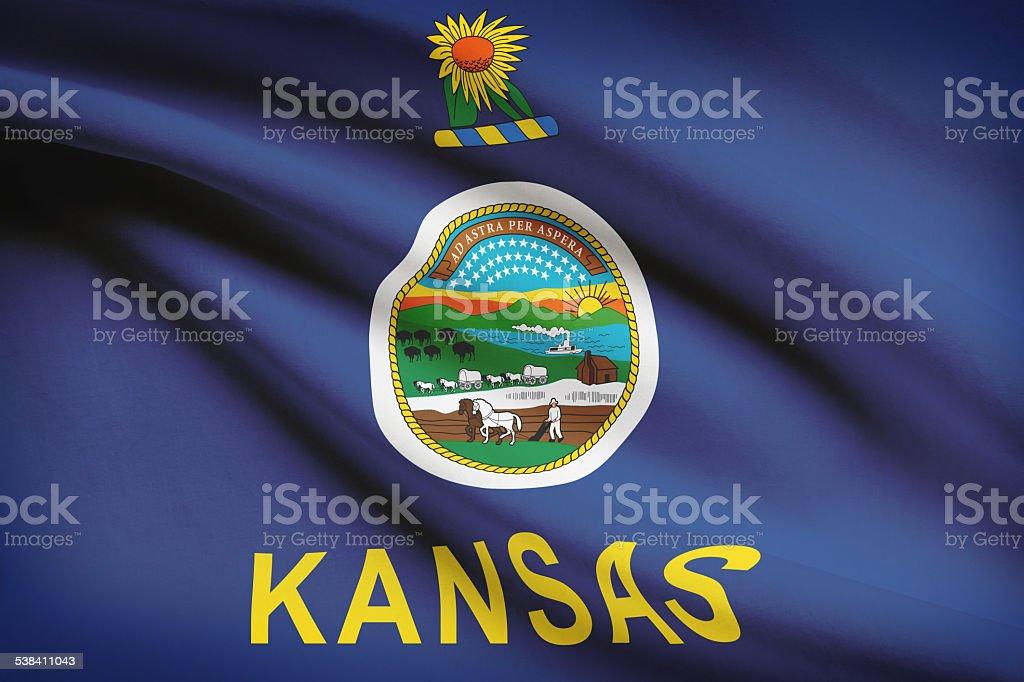 Series of ruffled flags - Kansas. stock photo