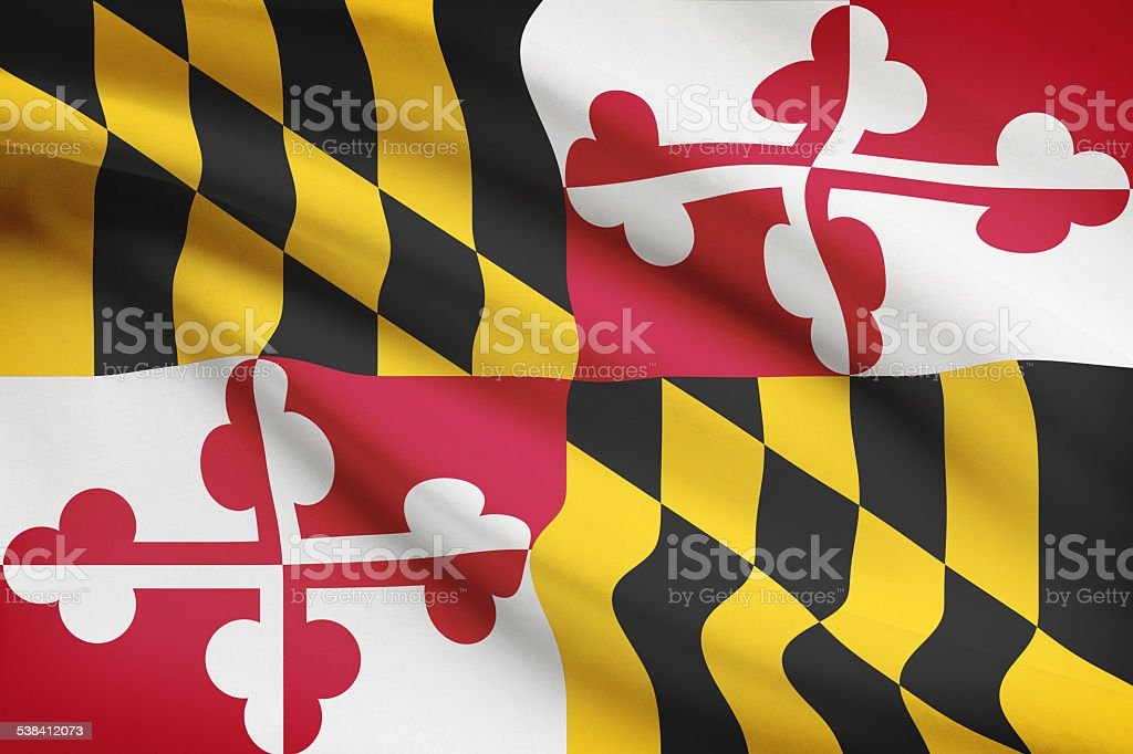 Series of ruffled flags - Maryland. vector art illustration