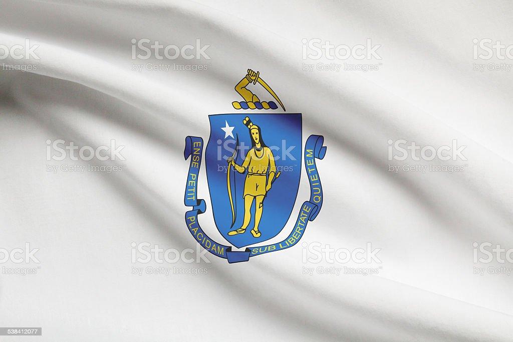 Series of ruffled flags - Massachusetts. stock photo