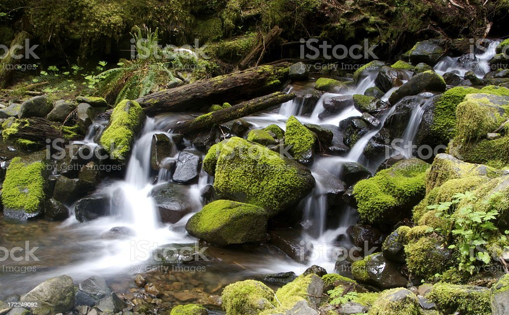 Series of Small Cascading Waterfalls royalty-free stock photo