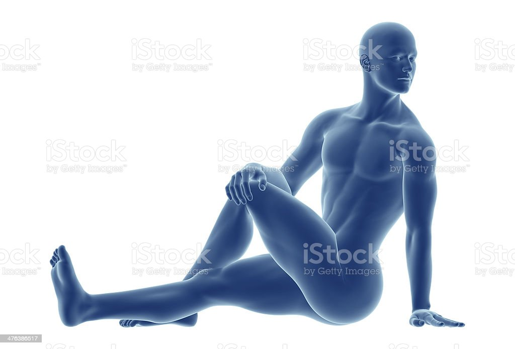 Series of stretches: stretching the body stock photo