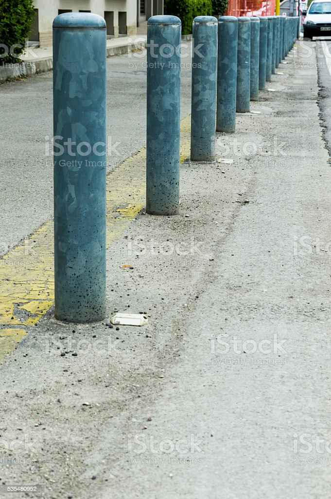 Series of traffic poles stock photo