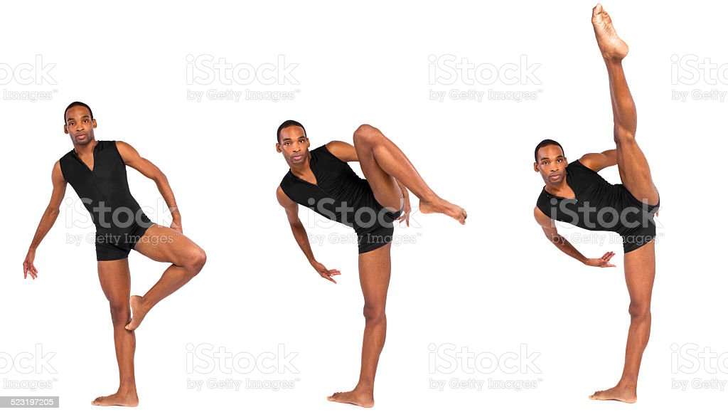 Series of Young Male Ballet Dancer Demonstrating Body Flexibility stock photo