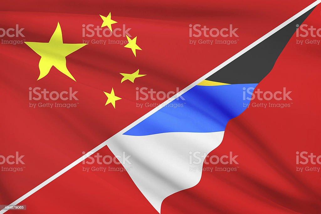 Series - ruffled flags. China vs Antigua and Barbuda. stock photo