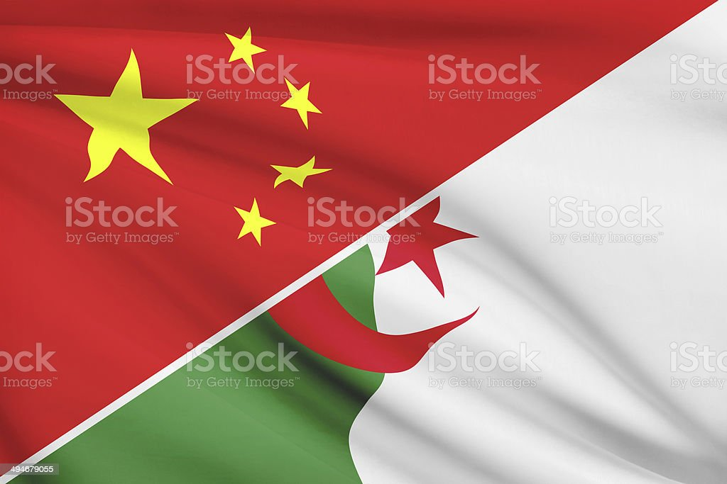 Series - ruffled flags. China vs People's Republic of Algeria. stock photo