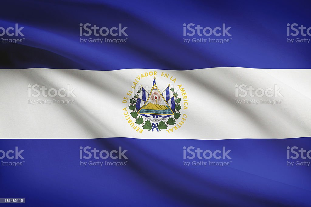 Series - ruffled flags. Republic of El Salvador. stock photo