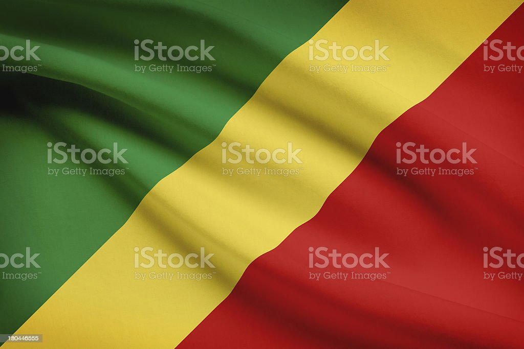 Series - ruffled flags. Republic of the Congo. Congo-Brazzaville. stock photo