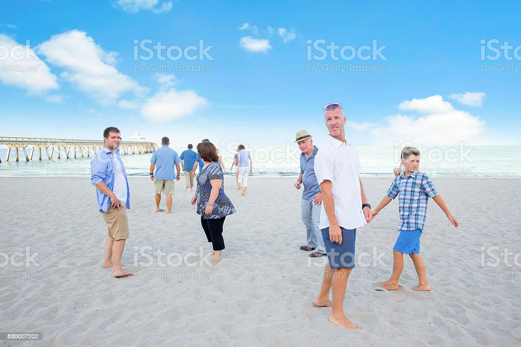 Series:Family has come to public beach for reunion stock photo