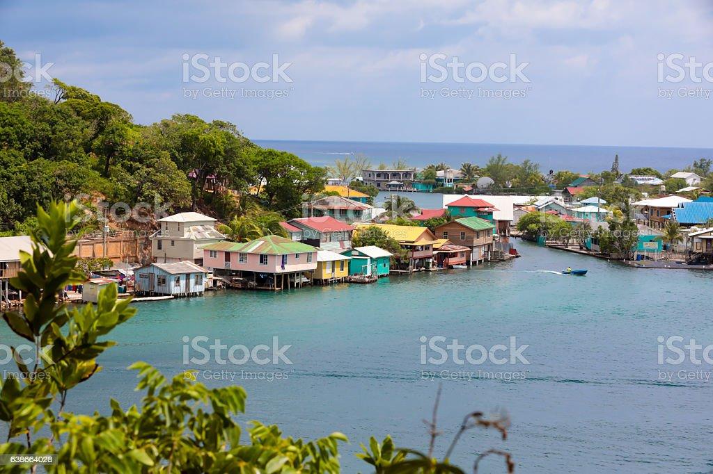 Series:Honduran island of Roatain in the Caribbean stock photo