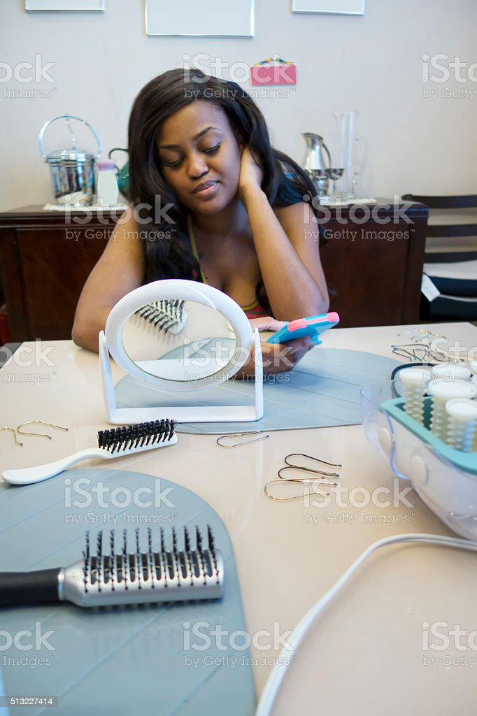Series-Young African American woman has been given makeover by mentor stock photo