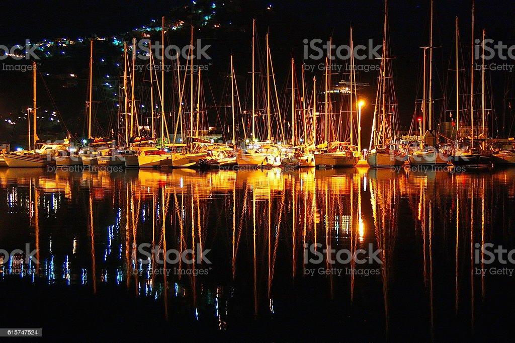 Serifos Harbor at night stock photo