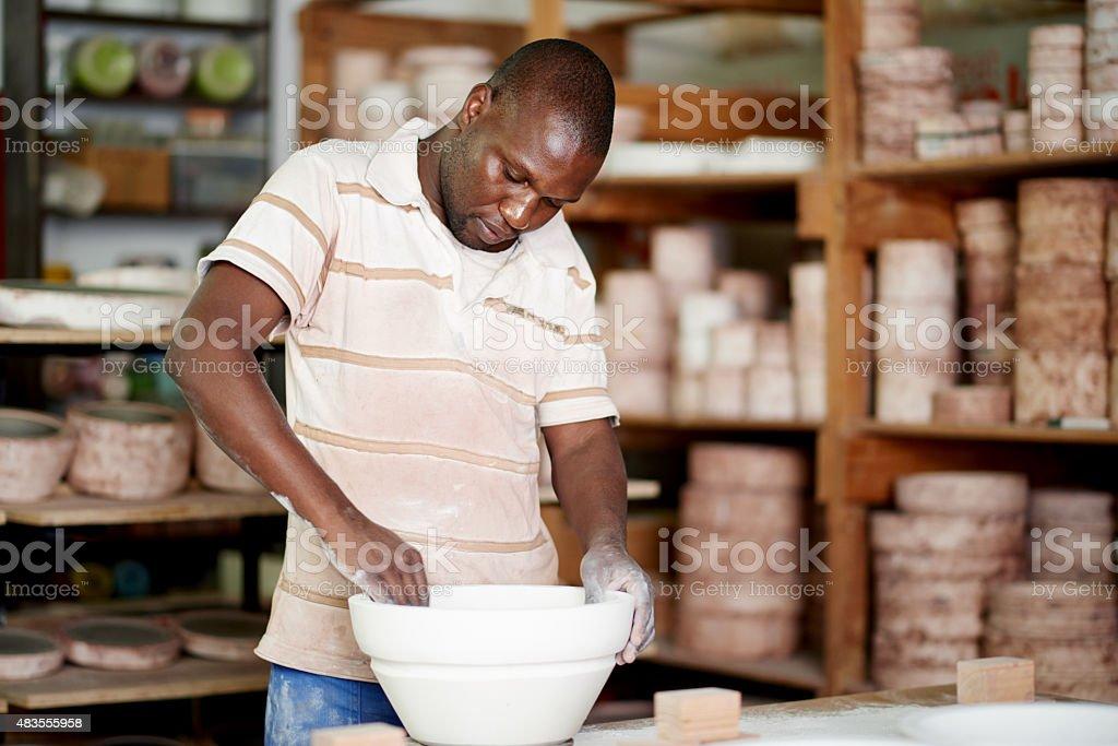 Serious about ceramics stock photo
