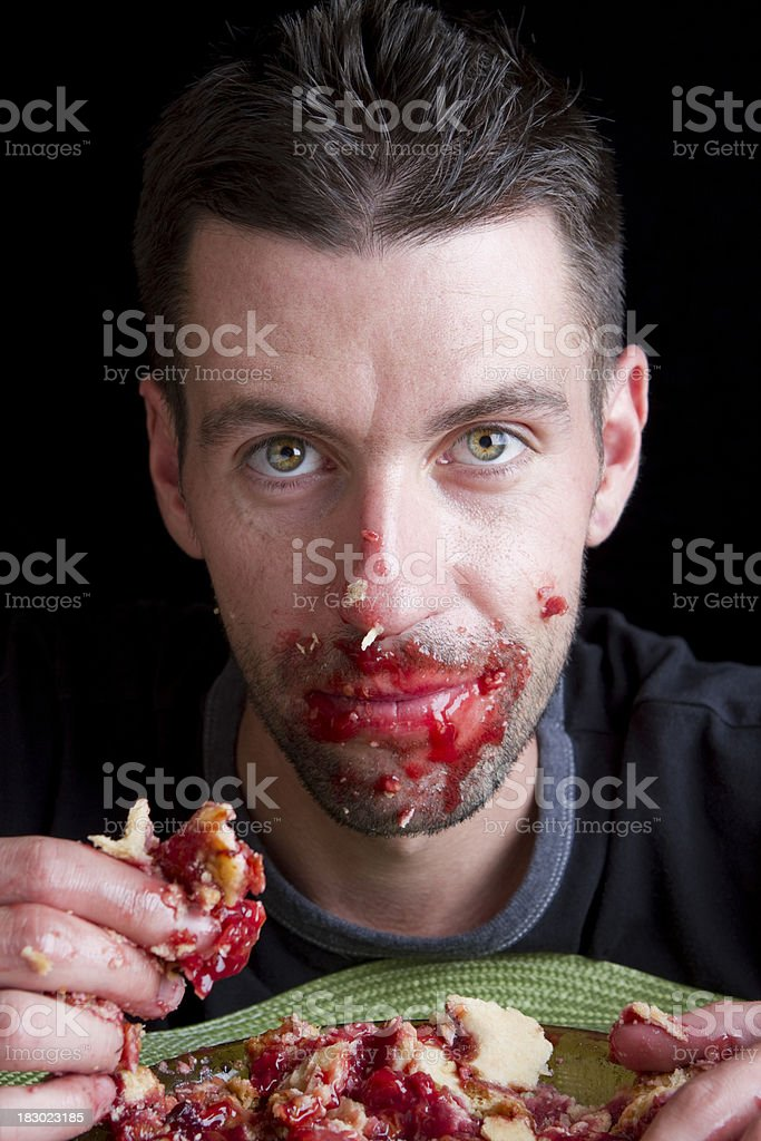 Serious About Eating Cherry Pie royalty-free stock photo