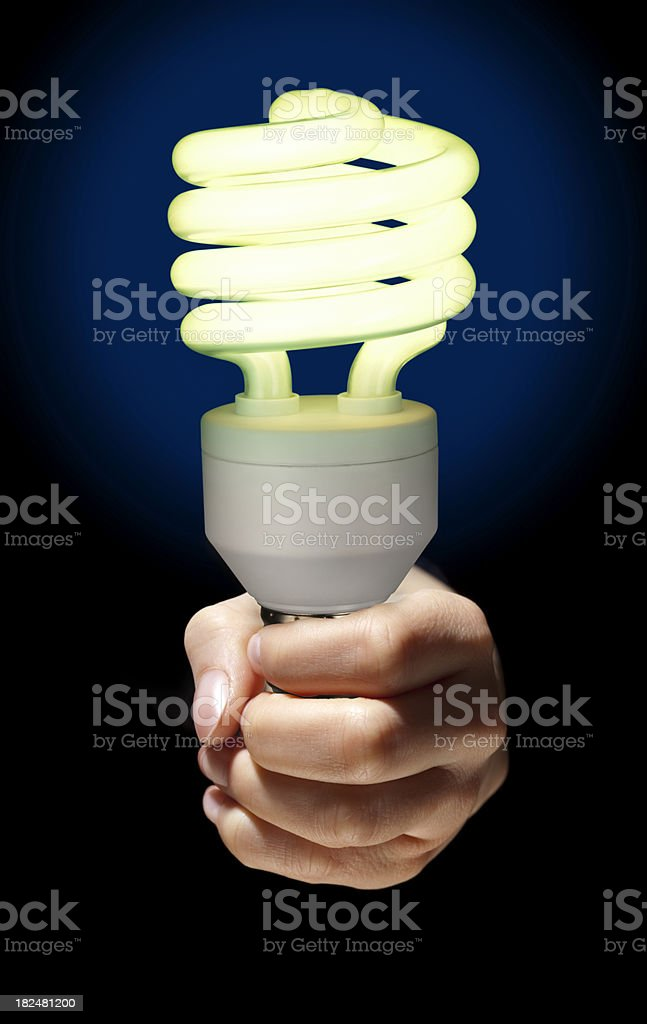 Serious About Green Technology; Hand Holding Curly Fluorescent Light Bulb royalty-free stock photo