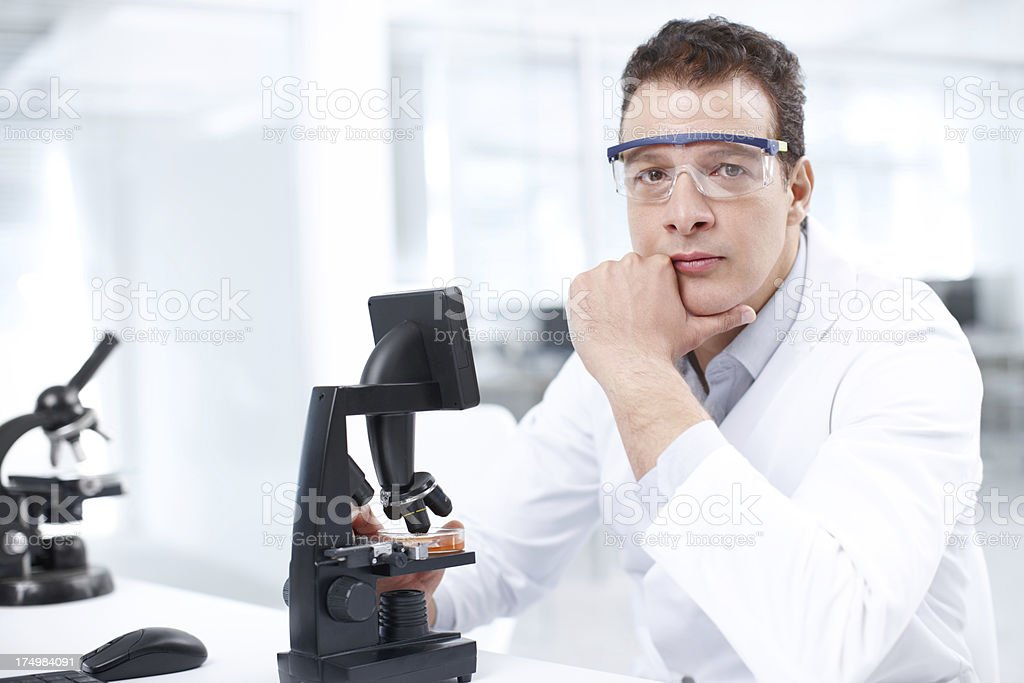 Serious about science royalty-free stock photo