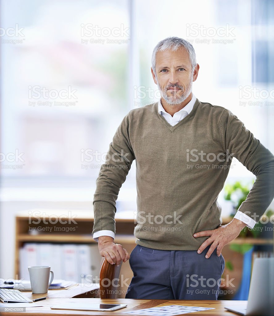 Serious about success stock photo