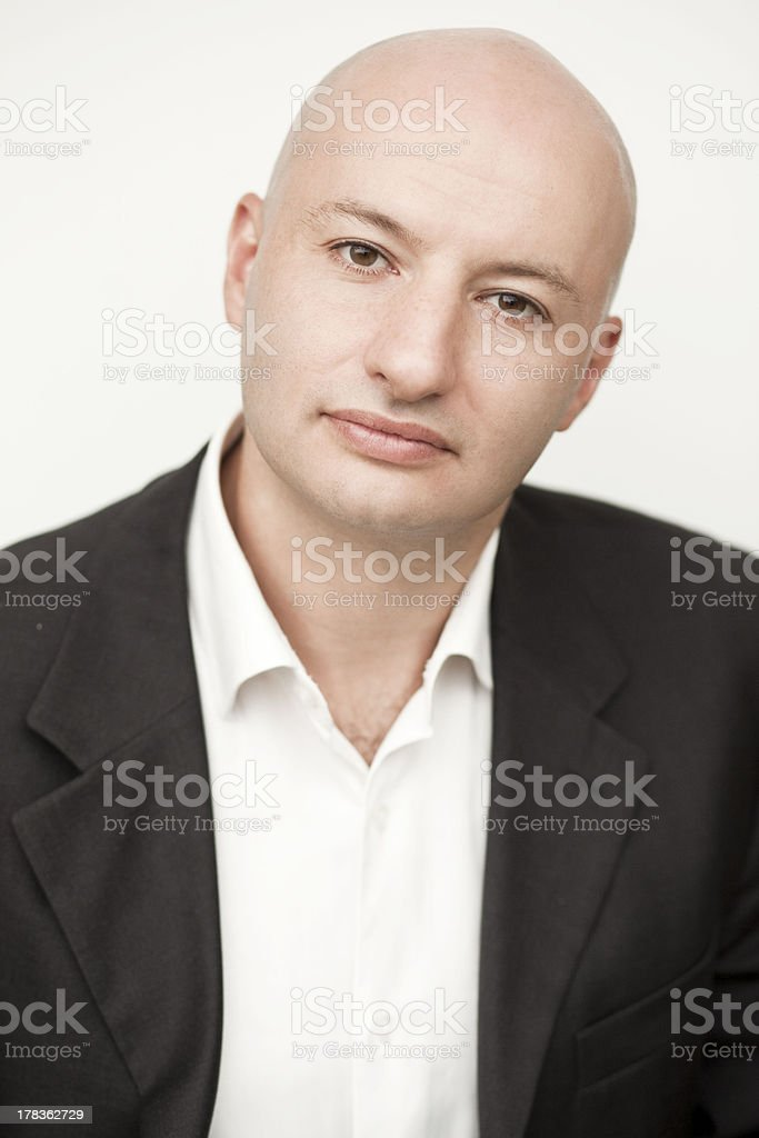 Serious adult man looking face stock photo