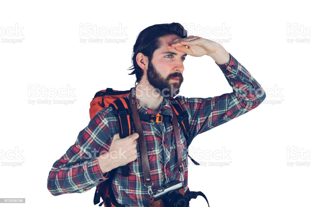 Serious adventurer looking away stock photo