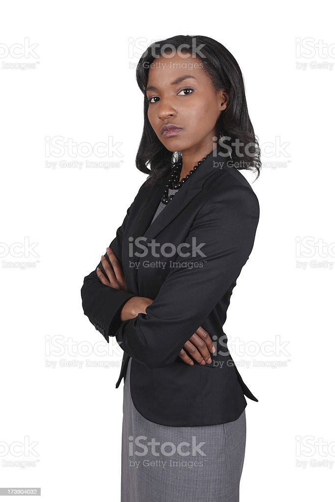 Serious African American Business Woman Folding Arms royalty-free stock photo
