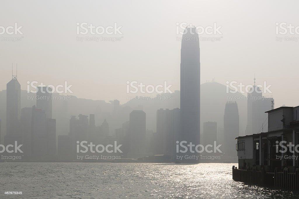 Serious Air Pollution in Hong Kong, China royalty-free stock photo