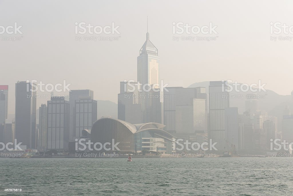 Serious Air Pollution in Hong Kong, China royalty-free stock photo