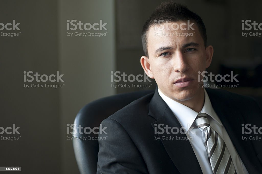 Serious and Concerned Financial Adviser royalty-free stock photo