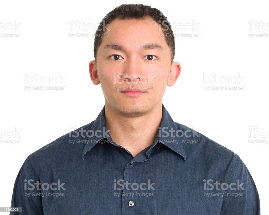 Serious Asian Man Mug Shot stock photo