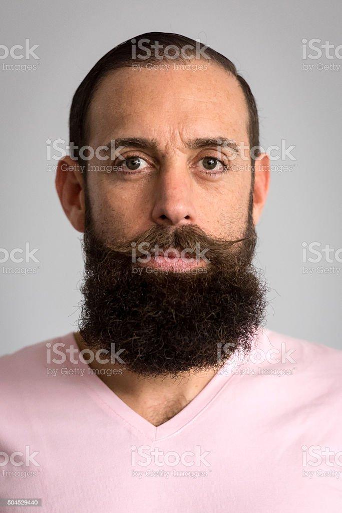 Serious bearded mature man stock photo