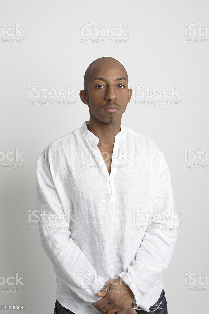 Serious Black African American Man White Linen Shirt royalty-free stock photo