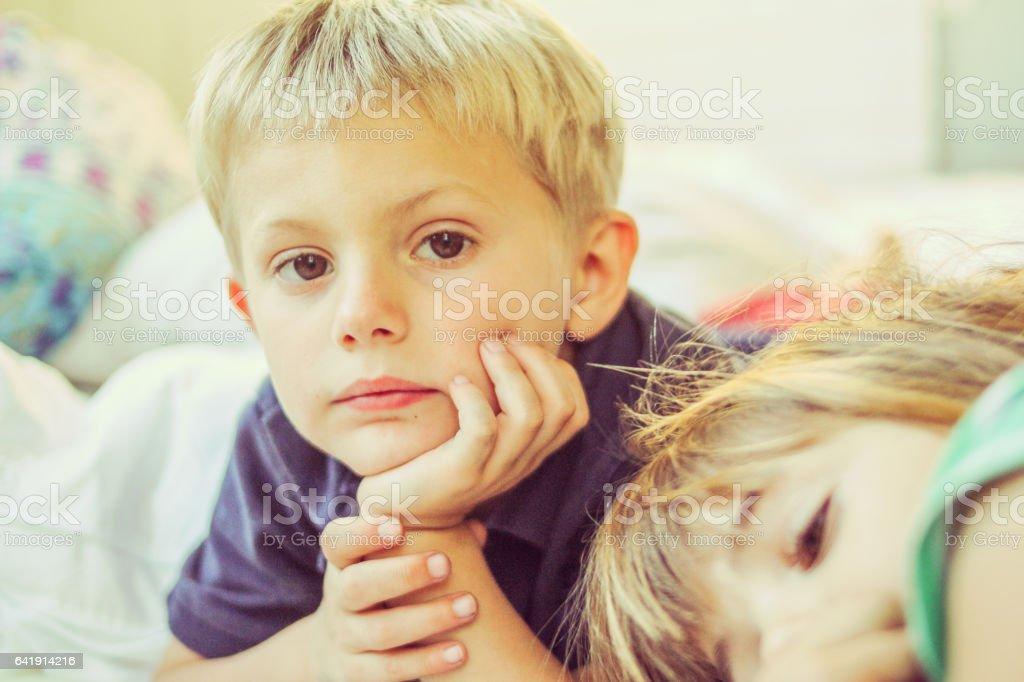 Serious boy stock photo