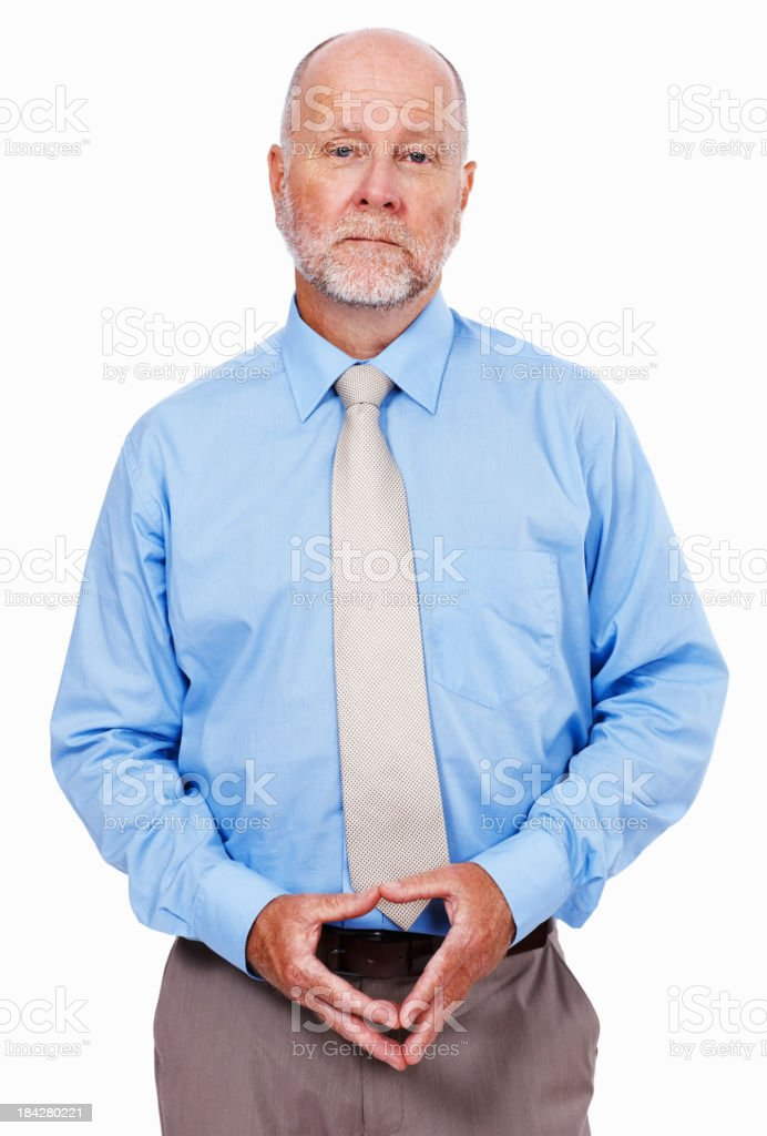 Serious business executive on white background royalty-free stock photo