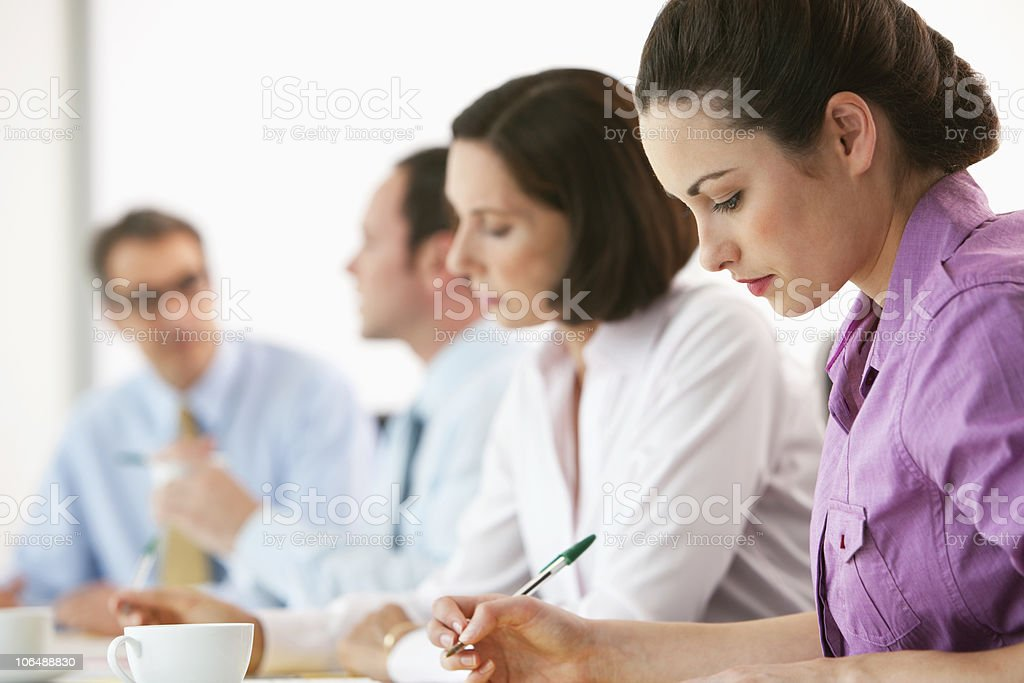 Serious business executives at board room for meeting in office royalty-free stock photo