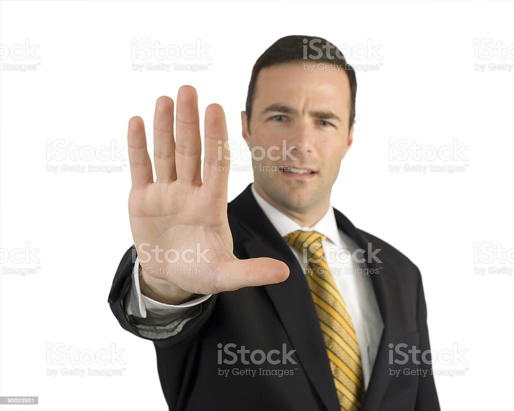 Serious businessman saying stop royalty-free stock photo