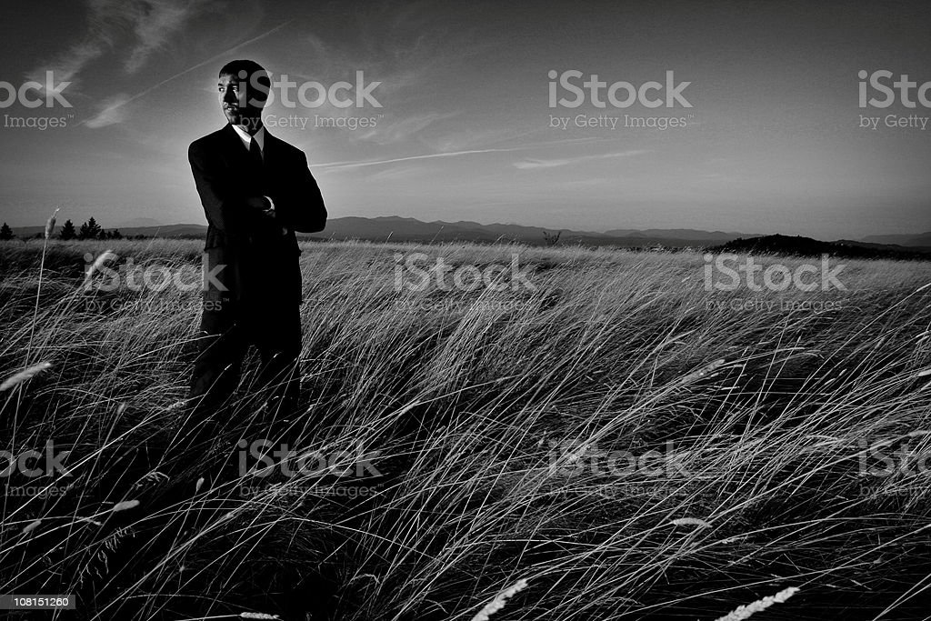 Serious Businessman Standing in Field, Black and White royalty-free stock photo